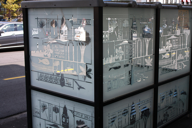 Bus shelter Auckland by Anne Beaumont