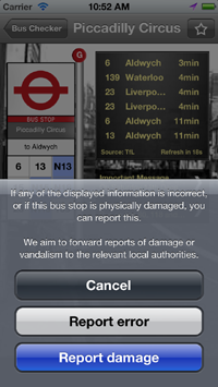 UK Buschecker app - now integrates with FixMyTransport - screen 3